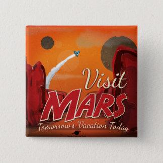 Visit Mars Vintage Poster 15 Cm Square Badge