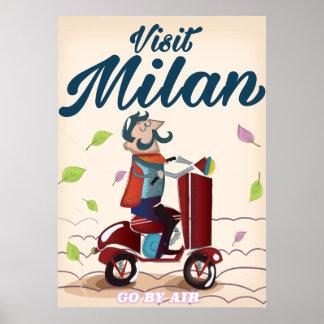 Visit Milan cartoon vintage travel poster