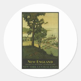 Visit New England Vintage Poster Round Sticker