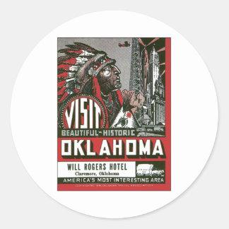 Visit Oklahoma OK USA Vintage Round Sticker