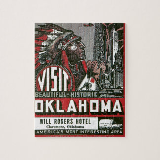 Visit Oklahoma With Indian Chief Jigsaw Puzzle