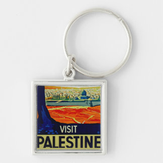 Visit Palestine Silver-Colored Square Key Ring