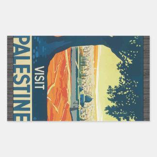 Visit Palestine, Vintage Rectangular Sticker