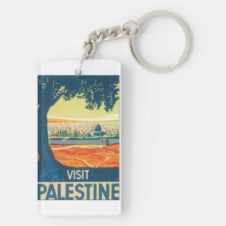 Visit Palestine Vintage Travel Poster Key Ring