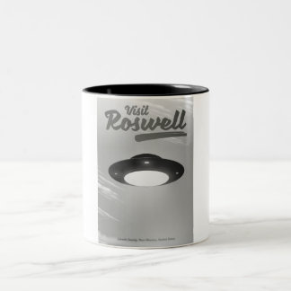 Visit Roswell UFO vintage poster Two-Tone Coffee Mug