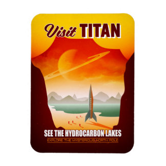 Visit Saturn's Moon Titan Travel Illustration Magnet