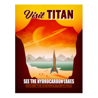 Visit Saturn's Moon Titan Travel Illustration Postcard
