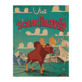 Visit Scandinavia Cartoon Vintage Poster Wood Canvas
