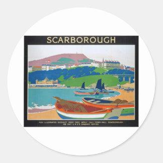 Visit Scarborough Poster Round Sticker