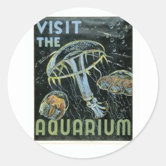 Visit the Aquarium - WPA Poster - Round Sticker