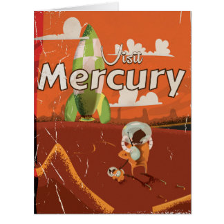 Visit the Planet Mercury Vintage Sci-Fi Cartoon Big Greeting Card