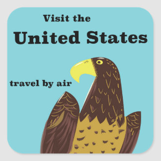 Visit the united States Travel poster Square Sticker