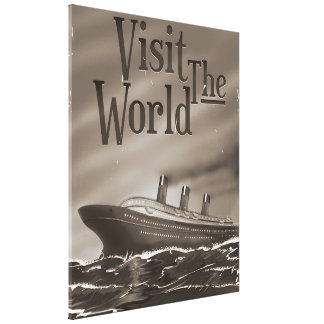 visit the world vintage cruise liner poster stretched canvas prints