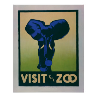 Visit The Zoo Elephant Vintage WPA Poster