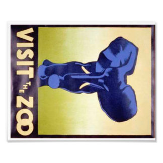 Visit the Zoo Vintage WPA FAP Poster Elephant Photo Print