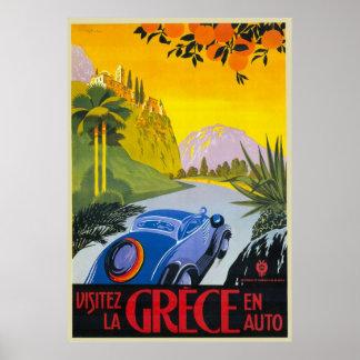 Visitez La Grece En Auto Retro Holiday Poster