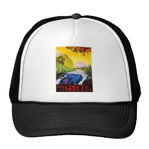 Visitez La Grece En Auto - Vintage Travel Poster Mesh Hats