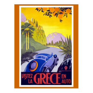 """Visitez la Grece"" Vintage Travel Poster Postcard"