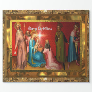 Visiting Baby Jesus Christmas  (15 feet)Glossy Wrapping Paper
