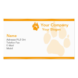 Visiting card animal paw pack of standard business cards