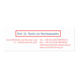 Visiting card Coral red