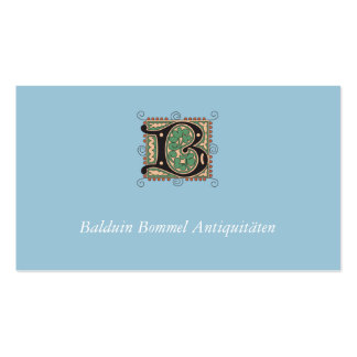 Visiting card with decorated initial pack of standard business cards