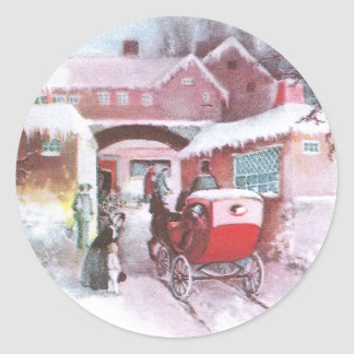 Visiting Friends by Carriage Vintage New Year Round Sticker