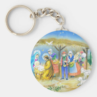 Visiting the Christ child in Bethlehem Keychains
