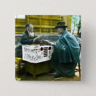 Visiting the Roadside Fortune Teller Old Japan 15 Cm Square Badge