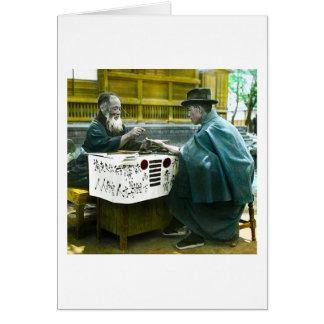 Visiting the Roadside Fortune Teller Old Japan Card