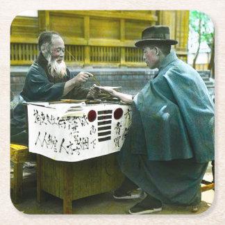 Visiting the Roadside Fortune Teller Old Japan Square Paper Coaster