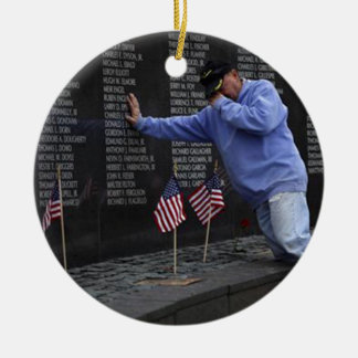 Visiting The Vietnam Memorial Wall, Washington DC. Ceramic Ornament