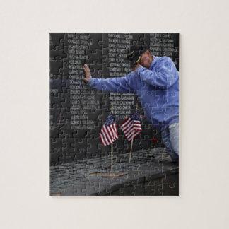 Visiting The Vietnam Memorial Wall, Washington DC. Jigsaw Puzzle