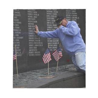 Visiting The Vietnam Memorial Wall, Washington DC. Notepad