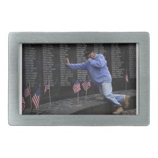 Visiting The Vietnam Memorial Wall, Washington DC. Rectangular Belt Buckle