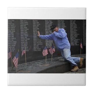 Visiting The Vietnam Memorial Wall, Washington DC. Small Square Tile