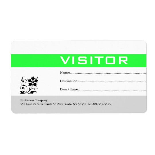 Visitor Badge Label Green