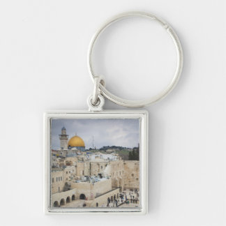 Visitors, Western Wall Plaza & Dome of the Rock Silver-Colored Square Key Ring
