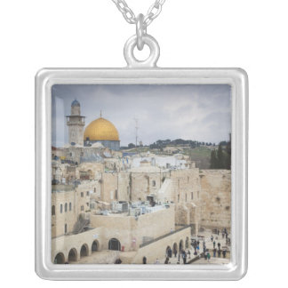 Visitors, Western Wall Plaza & Dome of the Rock Square Pendant Necklace