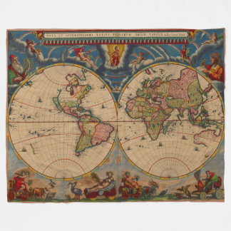 Visually Stunning Vibrant Vintage Old World Map Fleece Blanket