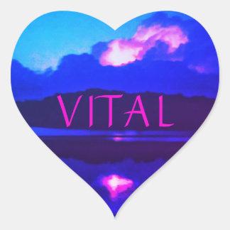 VITAL PINK LIGHTNING HEART STICKER