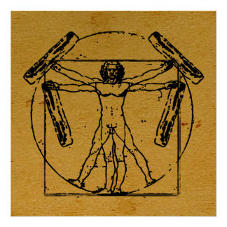 Vitruvian Bacon Man Poster