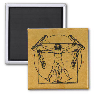Vitruvian Bacon Man Square Magnet
