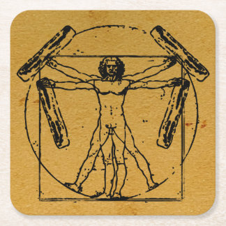 Vitruvian Bacon Man Square Paper Coaster