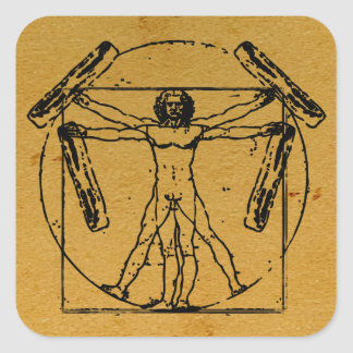 Vitruvian Bacon Man Square Sticker
