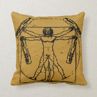 Vitruvian Bacon Man Throw Pillow