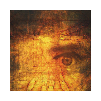 Vitruvian Man And Human Eye Poster Gallery Wrapped Canvas