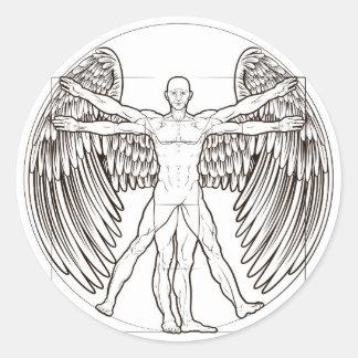 Vitruvian Man Angel Classic Round Sticker