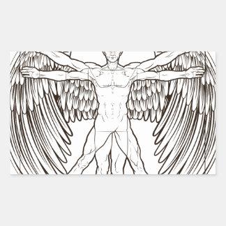 Vitruvian Man Angel Rectangular Sticker
