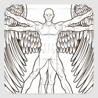 Vitruvian Man Angel Square Sticker